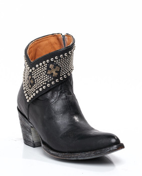 BL1446-03-SS Gorgeous Old Gringo Clovis Black Leather Studded Ankle Boots