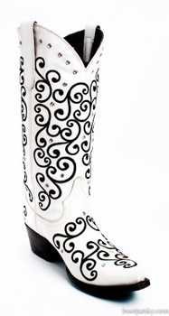 """LB0045F-RR LANE BOOTS """"WILLOW"""" WHITE WITH BLACK EMBROIDERY COWGIRL BOOTS"""