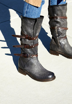 "AS98 Bradley Smoke  14"" Leather  Mid Calf Boots"