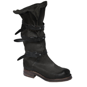 "AS98 Bradley Nero Black 14"" Leather Mid Calf Boots"