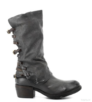 "AS98 Costello Smoke Grey 12"" Leather Buckle Boots"