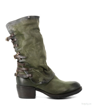 "AS98 COSTELLO JUNGLE GREEN 12"" LEATHER BUCKLE BOOTS"