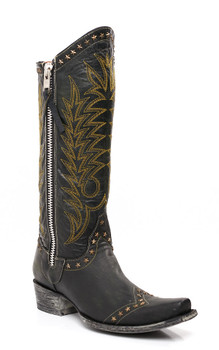 """L1360-4 OLD GRINGO ROCKSTAR  BLACK YELLOW GOLD 16""""  COWGIRL BOOTS"""