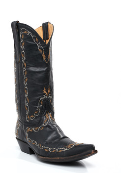 """L 255-2-RR OLD GRINGO BLACK 13"""" GOLD EMBROIDERED COWGIRL BOOTS"""