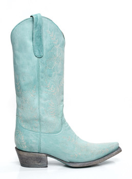 LB0043A-RR LANE BOOTS ASHLEY LACE TURQUOISE COWGIRL BOOTS