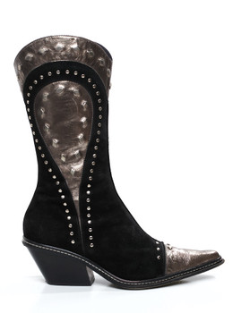 Donald J Pliner WESTERN Couture Womens JayDee Black Studded Suede Boots Sz 8