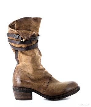 "AS98 CARTER DAINO CARMEL 11.5"" LEATHER BUCKLE BOOTS"