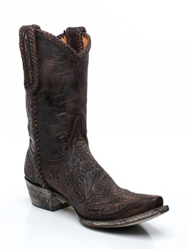 """L 055-34 OLD GRINGO WYOMING 10"""" CHOCOLATE HAND TOOLED LEATHER BOOTS"""