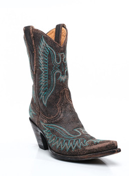 """L 172-68-RR OLD GRINGO EAGLE  STITCH CHOCOLATE / TURQUIOSE 10"""" COWGIRL BOOTS"""