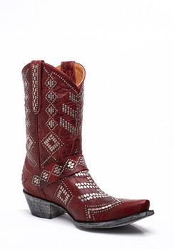 """L1987-2 OLD GRINGO LEDD RED STUDDED 10"""" COWGIRL BOOTS"""