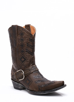 """L1987-3 OLD GRINGO LEDD CHOCOLATE GRAY STUDDED 10"""" COWGIRL BOOTS"""