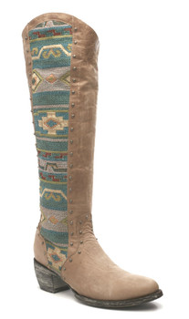 L1605-3 Gorgeous Old Gringo Tela Elina Bone/Turquoise Multi Leather Tall 18'  Boots