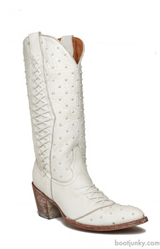 """L1776-1 OLD GRINGO PEARL DISTRESSED WHITE LEATHER 13"""" WOMENS BOOTS"""