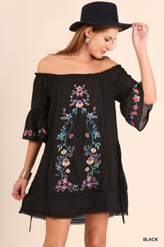A2856 UMGEE Bohemian Cowgirl Off Shoulder Dress with Floral Embroidery Details Black