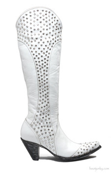 """L1785-1 OLD GRINGO DIANA DISTRESSED WHITE LEATHER 18"""" CRYSTAL STUDDED WEDDING BOOT"""