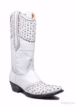 """L1777-1 OLD GRINGO LEIGH ANNE DISTRESSED WHITE LEATHER 13"""" WEDDING BOOT"""