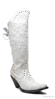 """L1784-1-RR OLD GRINGO ICE DISTRESSED WHITE LEATHER 16"""" LACE AND CRYSTAL WEDDING BOOTS"""