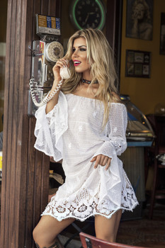 05. Union of Angels Camila White Lace Off the Shoulder Dress