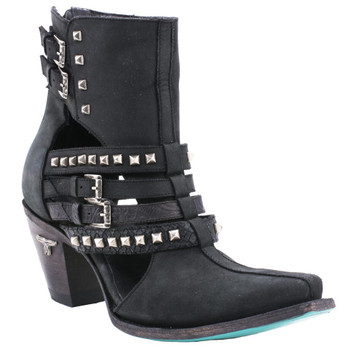 LB0328B LANE BUCKLE UP MIDNIGHT BLACK ANKLE LEATHER WOMENS BOOTS