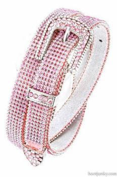 """B&B Western Cowgirl 6 Row Sparkling Crystal Leather Rhinestone Belt 1"""" Pink"""