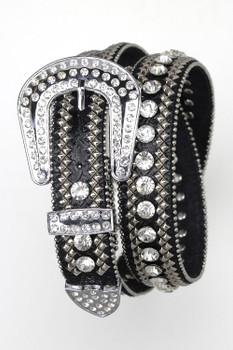 B&B Western Cowgirl 3 Row Sparkling Crystal Leather Rhinestone Belt Black