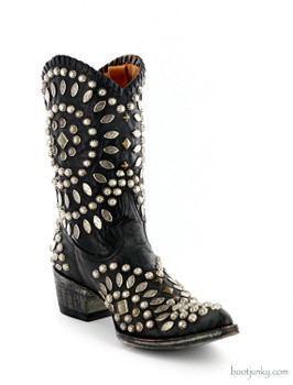 "L 930-1 OLD GRINGO TINO TINO BLACK STUDDED 10"" COWGIRL BOOTS"