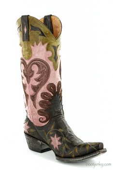 "L1115-6 OLD GRINGO LETTY CHOCOLATE/PURPLE 13"" COWGIRL BOOTS"