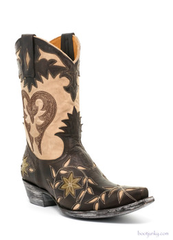 "L1115-7 OLD GRINGO LETTY 10"" CHOCOLATE/BONE LEATHER COWGIRL BOOTS"