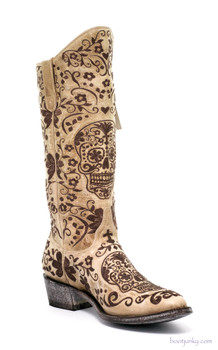 "L1439-8 OLD GRINGO KLAKRAZZ 13"" BONE LEATHER COWGIRL BOOT"