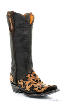"L1602-10 OLD GRINGO SONIA BLACK BROWN HAND TOOLED 13"" COWGIRL BOOTS"