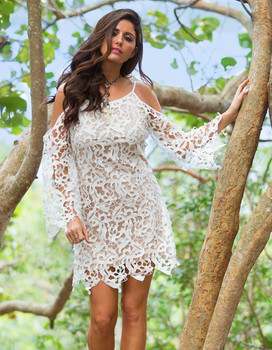 20. Bronte Collection Teagan White Boho Open Lace Dress