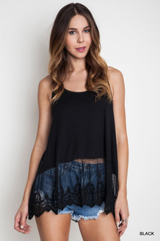 A1068 Umgee Bohemian Cowgirl Ribbed Tank With Lace Trim Black