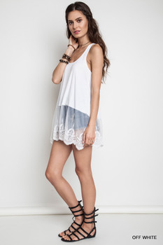 A1068 Umgee Bohemian Cowgirl Ribbed Tank With Lace Trim Off White