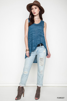 A1528 UMGEE Bohemian Cowgirl High Low Moto Tank Denim