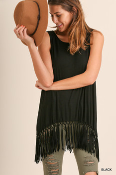 A3021 UMGEE Bohemian Cowgirl Sleeveless Tunic with Fringe Hemline Black