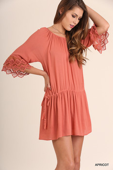 C0085 UMGEE Bohemian Cowgirl Wide Neck Dress with Mini Lace Bell Sleeves and Drawstring Tie on Sides Appricot
