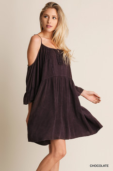 R7353 UMGEE Bohemian Cowgirl Washed Open Shoulder Dress Chocolate