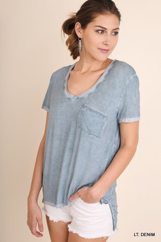 R7604 UMGEE Bohemian Cowgirl Washed Short Sleeve Top with Pocket and High Low Hemline Lt Denim