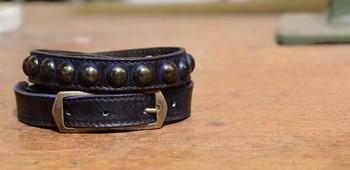 Bed Stu Tammy Navy Leather Skinny Belt