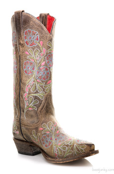 """M8033 MACIE BEAN THUNDERCAT FLORAL EMBROIDERED 13"""" COWGIRL BOOT"""