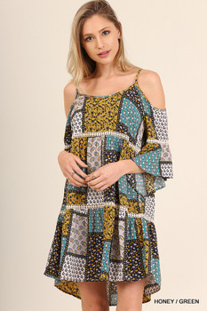 C0211 UMGEE Bohemian Cowgirl Cold Shoulder Print Tank Dress with Bell Sleeves
