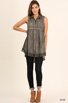 A3013  UMGEE Bohemian Cowgirl Washed Button Up Tunic with Lace Trim  Olive