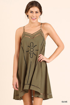 C0101 UMGEE Bohemian Cowgirl Embroidered A-Line Tank Dress Olive