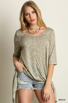 D5054 UMGEE Bohemian Cowgirl Basic 1/2 Sleeve High Low Tunic Mocha