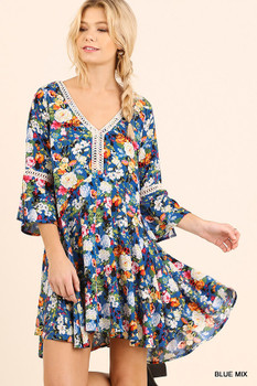 G0637 UMGEE Bohemian Cowgirl Floral Print Peasant Dress with Crochet Details