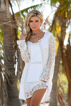 8. UNION OF ANGELS ARISSA WHITE OPEN LACE CROCHET DRESS