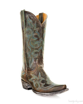 """L 113-60-SS OLD GRINGO DIEGO 13"""" BRASS AND TURQUIOISE COWGIRL BOOTS"""