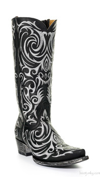 "L 221-22 OLD GRINGO MADONA 13"" BLACK LEATHER COWGIRL BOOTS"