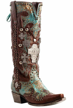 DDL001A Double D Ranch Turquoise Brown Ammunition Rivetted Western Boots