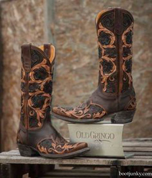 L2408-3 OLD GRINGO ABELINA  BROWN FLORAL HAND TOOLED WESTERN BOOTS